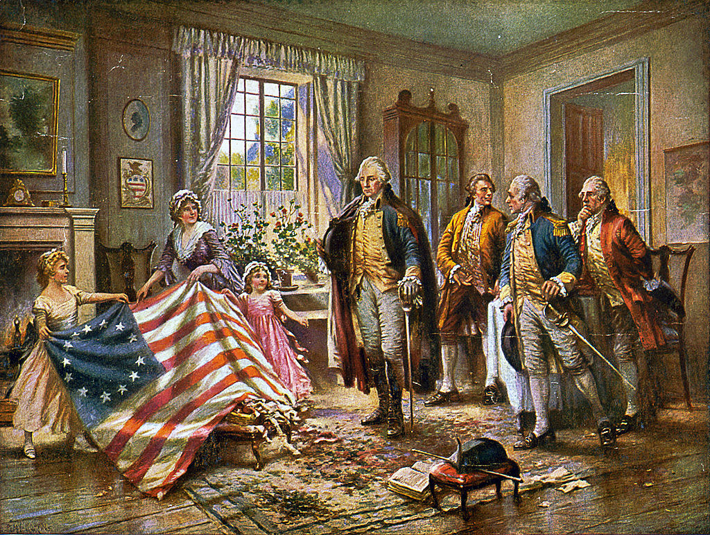 Betsy Ross Sewing the the American Flag