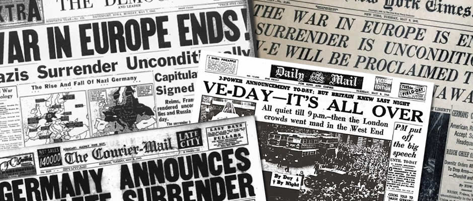 Many Different Newspaper with the Headlines Victory in Europe Day