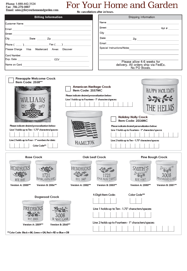 Crock Order Form