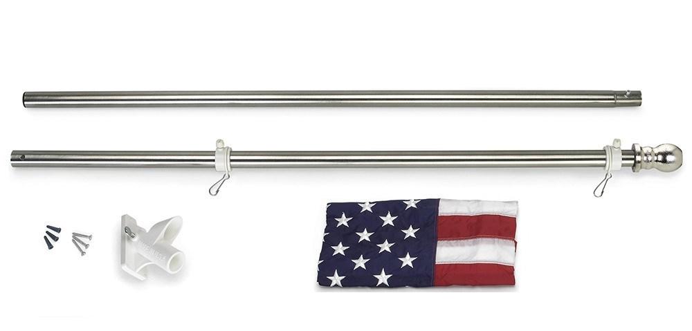 All American 6ft U S Flag Kit Stainless Steel Tint Finish Flagpole