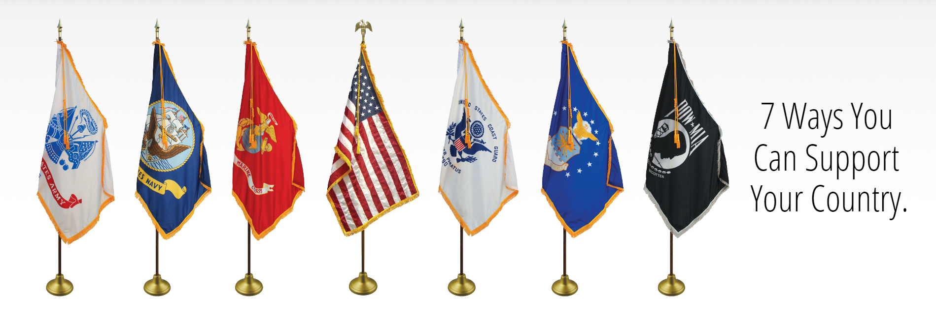 All the US Military Branch Flags Displayed on Flagpole Sets