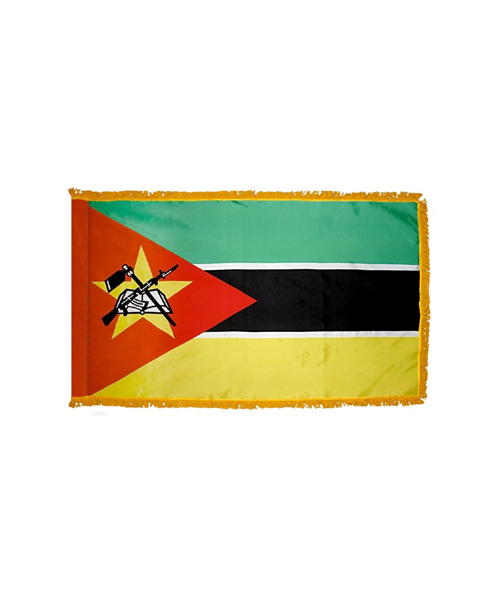 2ft  x 3ft  Mozambique Flag Fringed with Side Pole Sleeve