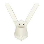 Single Strip Flagpole Harness White Leather Plastic Cup