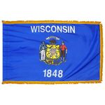 2ft. x 3ft. Wisconsin Flag Fringed for Indoor Display