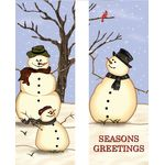 30 x 84 in. Seasonal Banner Snow Family-Double Sided Design