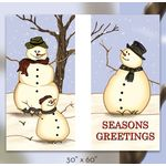 30 x 60 in. Seasonal Banner Snow Family-Double Sided Design