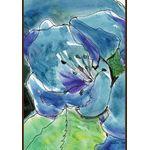 Watercolor Blue Lilies House Flag