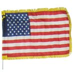 12 x 18 in. US Flag w/ Gold Fringe on Auto Bracket