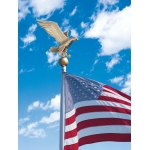 Flagpole Eagle in Bronze/Gold Displayed on Top of a Flagpole with a Blue Sky