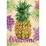 Welcome Floral Pineapple House Flag