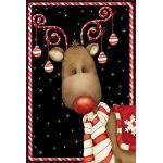 Candy Cane Reindeer House Flag
