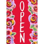 Red Floral Open House Flag