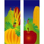 30 x 60 in. Seasonal Banner Fall Fruit Corn & Pumpkin-Double Sided