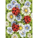 Flowers & Ladybugs House Flag
