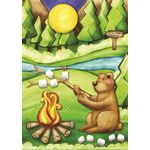 Camping Bear House Flag