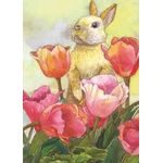 Bunny with Tulips House Flag