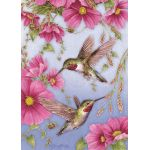 Hummingbirds w/Pink House Flag