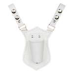 White Leather Strap Snaps-on Belt Style Flagpole Carrier