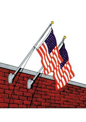9 ft. Wall-Mount Aluminum Flagpole Set
