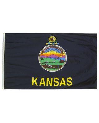 4ft. x 6ft. Kansas Flag w/ Line Snap & Ring