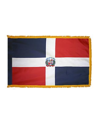 4ft. x 6ft. Dominican Republic Flag Seal Indoor w/ Fringe