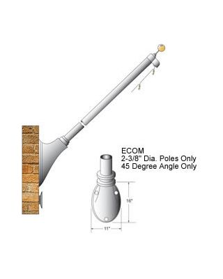 Satin Finish - 45 Degree Outrigger Wall Mount Flagpole Set
