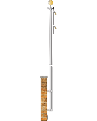 Clear Anodized - Vertical Wall Mount Flagpole 3-1/2 in. Butt Dia.