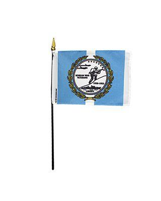 4 x 6 in. Korean War Veterans Flag Mounted on a Staff