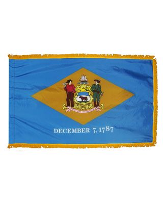 3ft. x 5ft. Delaware Flag Fringed for Indoor Display