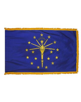 3ft. x 5ft. Indiana Flag Fringed for Indoor Display
