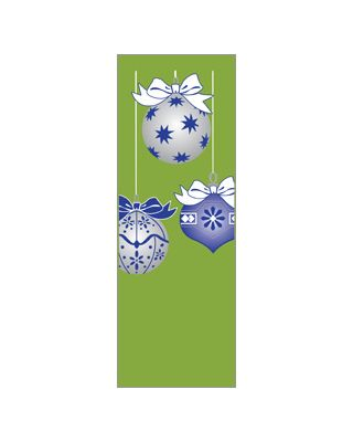 30 x 84 in. Holiday Banner Blue & Silver Ornaments Green Fabric