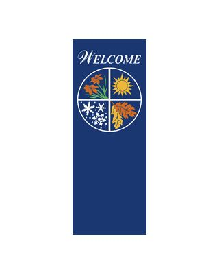 17 x 36 in. to 17 x 45 in. Four Seasons Blue Fabric Banner