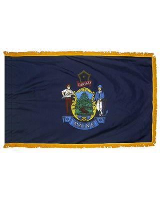 2ft. x 3ft. Maine Flag Fringed for Indoor Display