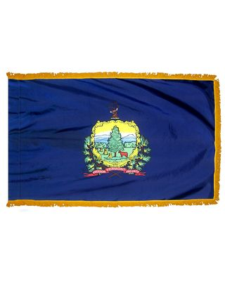 2ft. x 3ft. Vermont Flag Fringed for Indoor Display