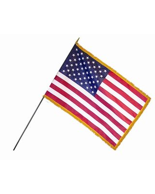 16 in. x 24 in. U.S. Flags Classroom with Fringe - 12 Pack