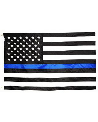 2ft. x 3ft. Thin Blue Line US Flag Sewn