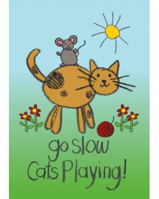 Go Slow Cats Playing Garden Flag
