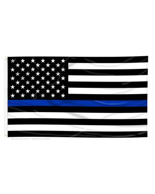 3ft. x 5ft. Thin Blue Line US Flag Poly