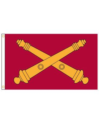 3 ft x 5 ft US Field Artillery Branch Flag With Heading and Grommets