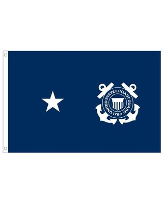 2ft. x 3ft. Coast Guard 1 Star Admiral Flag with Grommets