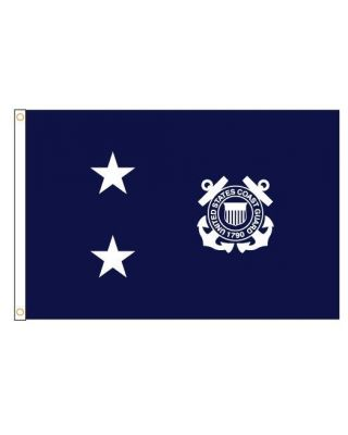 2ft. x 3ft. Coast Guard 2 Star Admiral Flag with Grommets