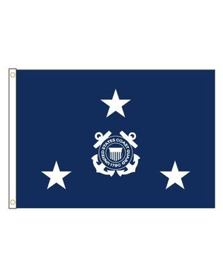 2ft. x 3ft. Coast Guard 3 Star Admiral Flag with Grommets