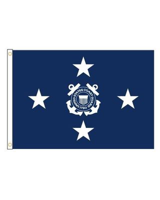 3ft. x 5ft. Coast Guard 4 Star Admiral Flag with Side Pole Sleeve