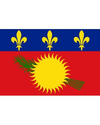 2ft. x 3ft. Guadeloupe Flag with a Red Field & Canvas Header
