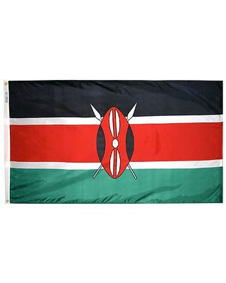 2ft. x 3ft. Kenya Flag with Canvas Header