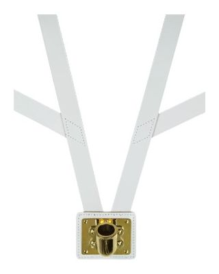 White Honor Guard Flag Carrying Harness w/Brass Cup