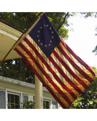 3ft. x 5ft. Betsy Ross Tea Stained US Flag Pole Hem