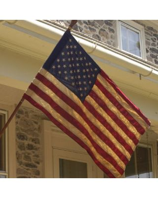 2-1/2ft. x 4ft. 50 Star Tea Stained US Flag Close-up View