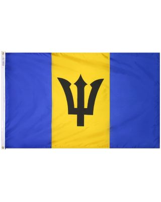 Size 8 Barbados Flag with Canvas Header & Brass Grommets
