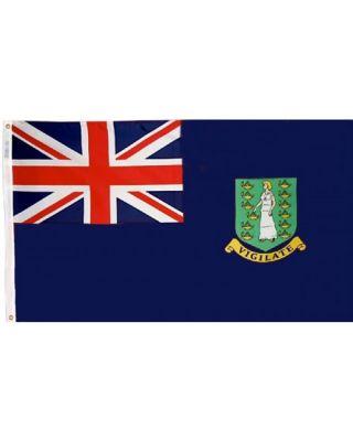 Size 8 British Virgin Island Blue Flag with Canvas Header & Brass Grommets